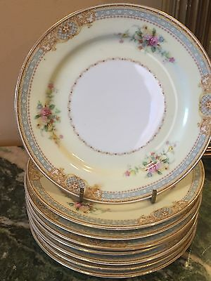 Stunning Lot Of 8 Bread+Butter Cake Plates Occupied Japan Scroll Floral Design