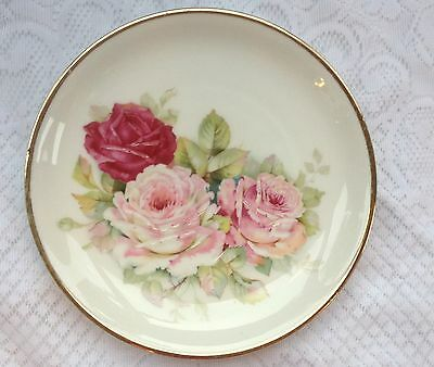 Silesia Germany Handpainted pink/Red Roses Plate (871)