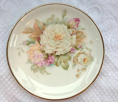 Silesia Germany Handpainted white/pink Roses Plate (872)