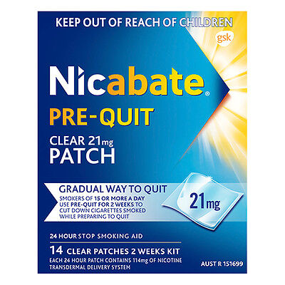 NEW Nicabate Nicotine Patches Prequit Patch 21mg Ease Into Quitting 14Pk