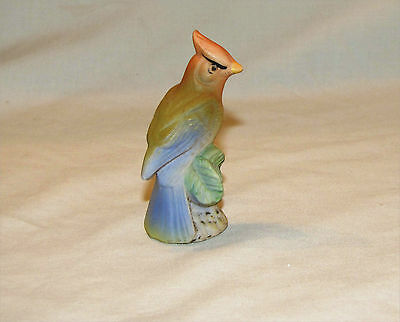 Vintage Bird Figurine Japan Nakagama Bisque Red Crested Head Blue Tail