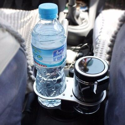 Car Mount Dual CUP HOLDER With Water Bottle & Drinks Holder -Chrome/Black