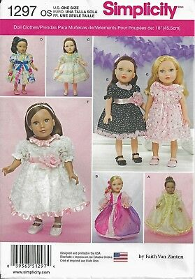 Simplicity 1297 OOP 18 inch Girl Doll Clothes Sewing Pattern American Dress Gown