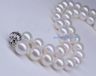 """LONG AAAAA 36"""" 10-11mm NATURAL perfect round south sea white pearl necklace 14K"""
