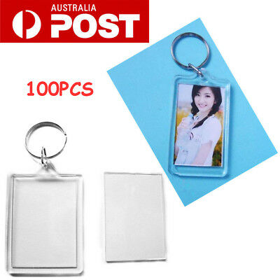 100X Clear Keyring Plastic Blank Insert Photo Picture Frame Keychain Acrylic AU