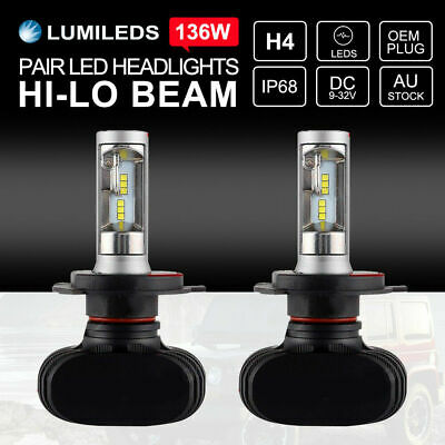 252W H4 Philips LED Headlights KIT Bulbs Hi-Lo Beam 25000LM vs Halogen Xenon