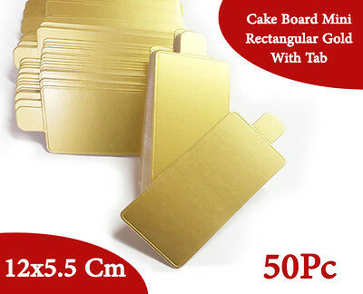 Cake Board Mini Rectangular Gold With Tab 50Pc 12x5.5 Cm Cupcake Boxes Cake Box