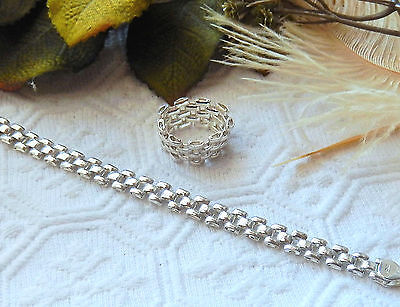 Sterling Silver .925 Woven Flat Panther Chain Bracelet & Ring Set