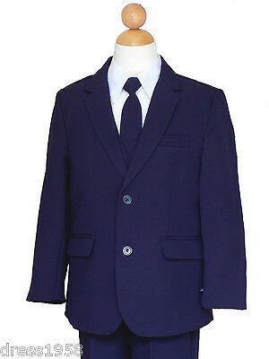 Boys Graduation, Recital, Ring Bearer, Navy Blue/White Suit Set  2T to 14