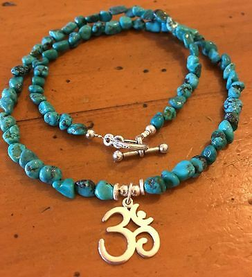 ॐCrystal Blissॐ Turquoise Spiritual Yoga Necklace w S Silver OM OHM Pendant