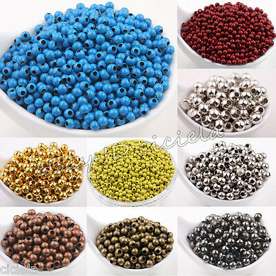 Wholesale Metal Round Spacer Beads DIY Jewelry Bracelets 3mm 4mm 5mm 6mm 8mm