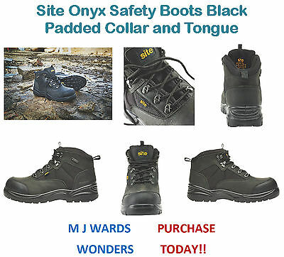 Site Quarry Safety Trainer Hikers Boots Black Padded Collar and Tongue