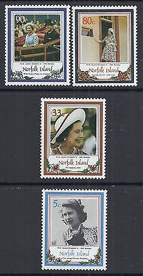 1986 NORFOLK ISLAND 60th BIRTHDAY OF THE QUEEN SET OF 4 FINE MINT MUH/MNH