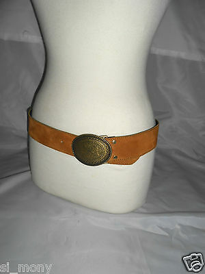 Women Brown Belt Real Suede Antique Brooch Buckled Size S/M