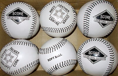 6 New 12 Inch Leather Softballs Cork Centre Stitched Leather Cover  Softballs