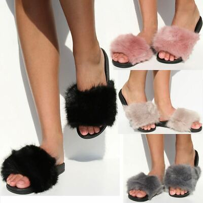 Faux Fur Fluffy Sliders Flat Celebrity Black Designer Womens Ladies New Size UK