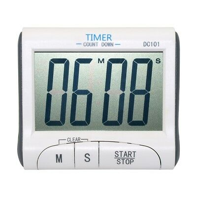 LCD Digital Kitchen Timer Count Down Magnetic Clock Mini Size White
