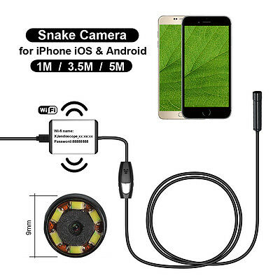 1/3.5/5m Wireless Wifi LED Endoscope Borescope Inspection Camera For IOS Android