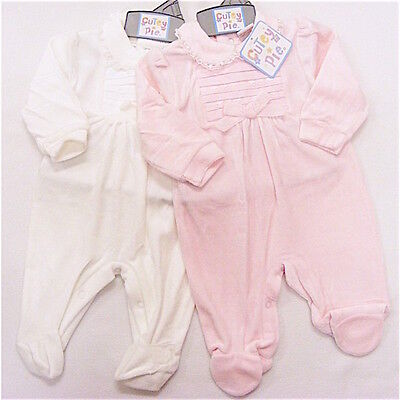 Baby Girls Pink or Cream Velour Bow Lace All in One Romper 0-3 3-6 6-9 Month