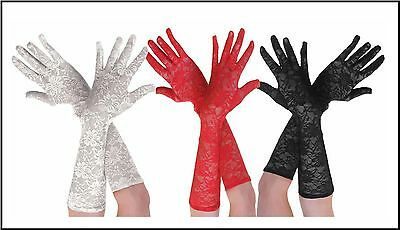 Gatsby Gangster Flapper Lace Long Gloves Flapper 1920s Red Black White Moll 20s