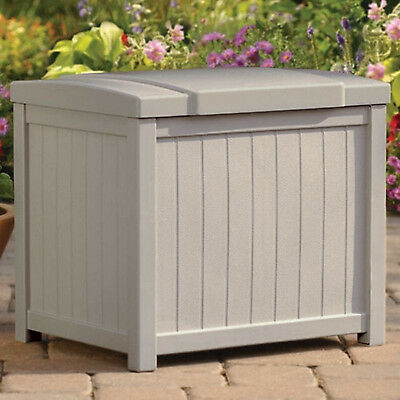 Outdoor Storage Box Patio Garden Furniture Resin Wicker Seat Deck