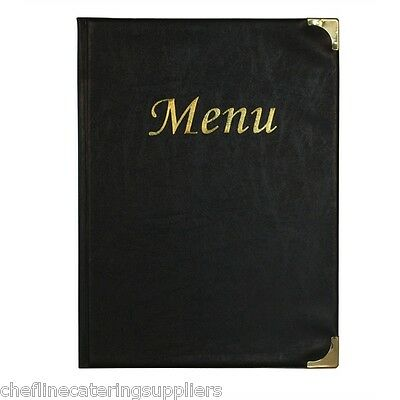 A4 Menu Holder Black 8 Pages, Restaurants, Pubs, Bars, Cafe