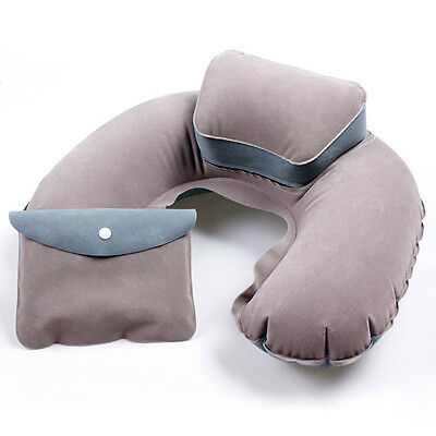 U Shape Inflatable Air Travel Pillow Cushion Neck Rest Camping Flight Airplane
