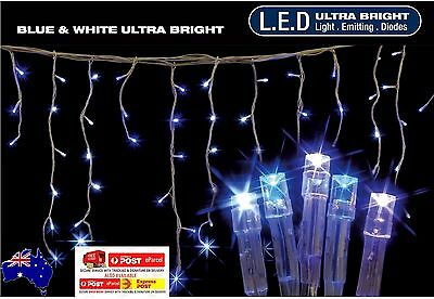 14.9M 600Led White&blue Snowing Icicle Christmas Lights With 8 Functions
