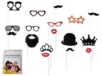 17Pc Party Photo Booth Props Kit Kids Fun Birthday Hen Night Games Accessories