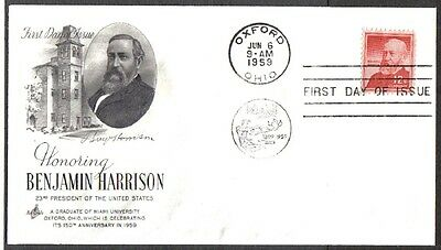 Us Fdc 1959 Banjamin Harrison 12C Art Craft First Day Of Issue Cover Oxford Ohio