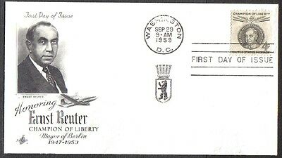 Us Fdc 1959 Ernst Reuter 4C Art Craft First Day Of Issue Cover