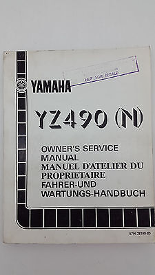 Yamaha Motorbike YZ490(N) Factory Owner's Service Manual. 1st ed., August 1984