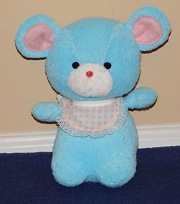 "7"" Applause Wallace Berrie Vintage Terry Babies Blue Mouse Plush Rattle 1984"