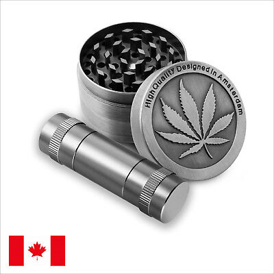 Designed Zinc Alloy 4 Piece 50mm Tobacco Herb Grinder Combo