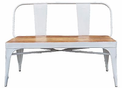 !!Limited Stock!! White French Bistro Bench with Wooden Seat