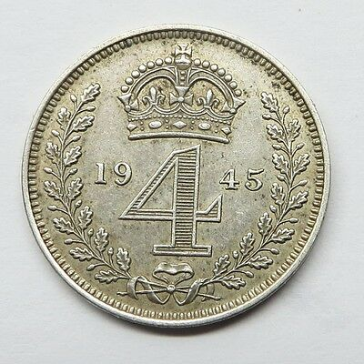 1945 George V1  Maundy Silver 4 Pence