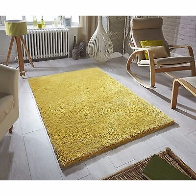 Luxury Super Soft Rug Mustard Yellow Ochre Softness Shaggy Rugs ALL SIZES