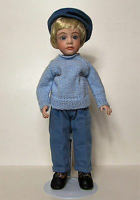 "Vintage 1986 Boots Tyner Design Repro Porcelain Boy Doll in Blue 14"" Signed"