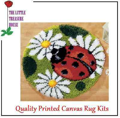 Ladybird Printed Canvas Latch Hook Rug Kit - Rug Making - Everything included