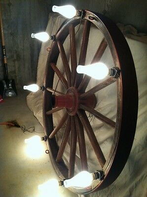 Antique Waterville Iron Works Wagon Wheel Chandelier - Very Large