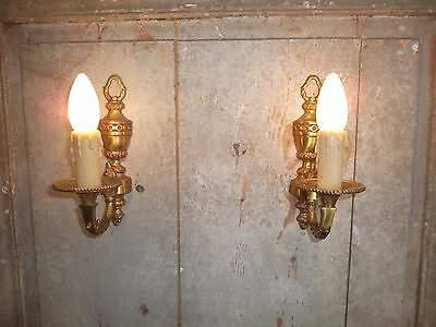 French a pair of patina gold bronze wall light sconces nicely  vintage • CAD $144.65