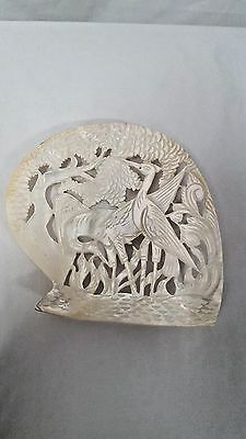 Vintage Hand Carved Asian Mother of Pearl Plaque