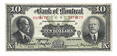 1923 Bank of Montreal - $10 Bank Note - Serial # 3378172 - Very Fine