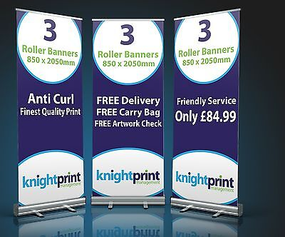 3x Roller Banners - Pop Up - Roll Up - Banner - Exhibition Display Stand - 850mm