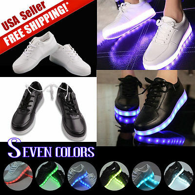 Unisex 7 LED Light USB Lace Up Sneakers Sportswear Sneaker Luminous Casual Shoes