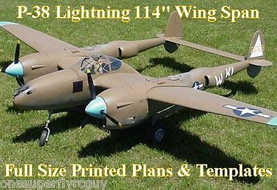"""P38 Lightning 114"""" WS Giant Scale RC Airplane Full Size PRINTED Plans &Templates"""