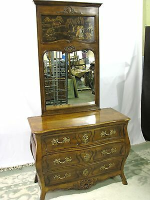 "Henredon ""Villandry""  Bombe 3 -Drawer Chest & Mirror With Painted Asian Scene (2"