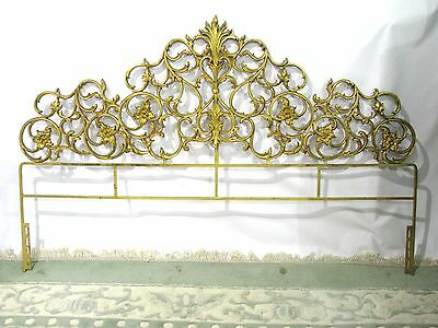 Glamorous Scrolled Gilt Cast Iron Queen Size Headboard; Hollywood Regency Deluxe