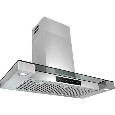 "36"" LED Display Touch Control Stainless Steel Wall Mount Kitchen Range Hood Vent"