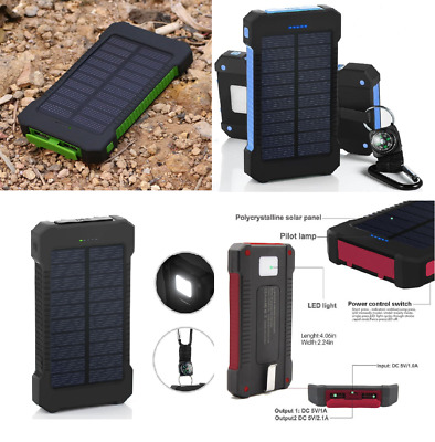 POWERNEWS Waterproof 900000mAh Portable Solar Charger 2USB Battery Power Bank RT